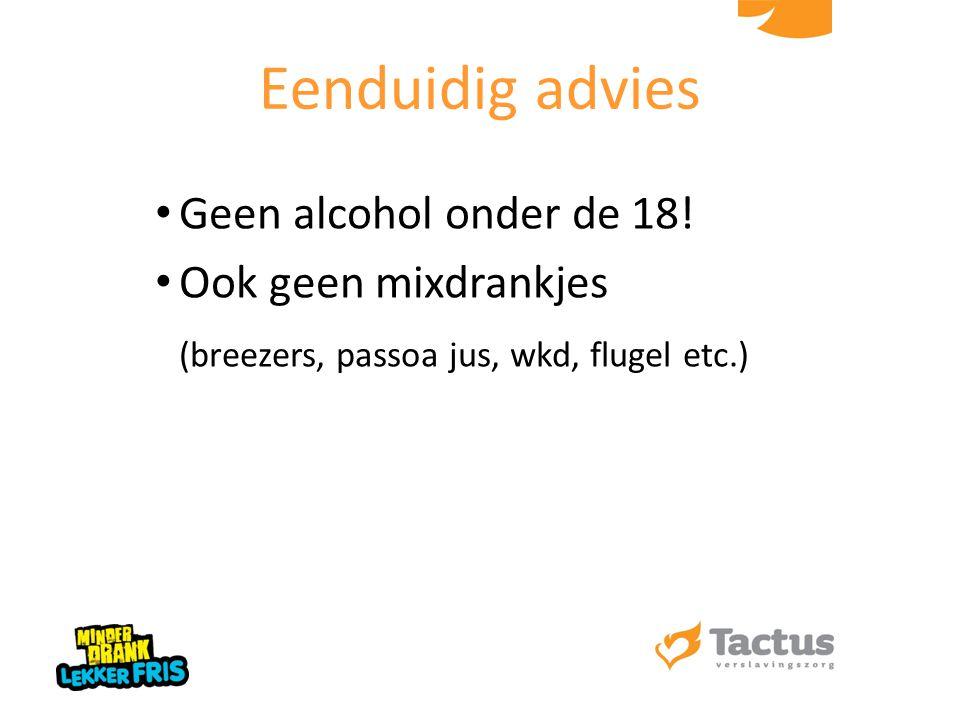Eenduidig advies Geen alcohol onder de 18! Ook geen mixdrankjes