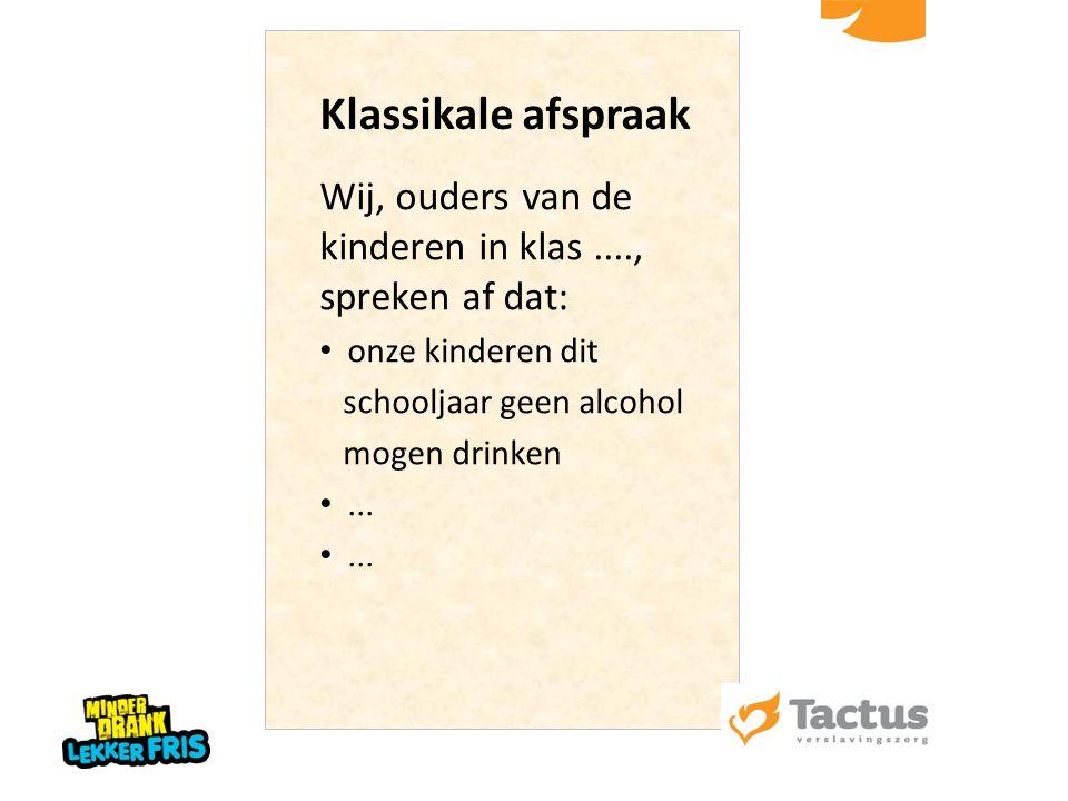 Klassikale afspraak Wij, ouders van de kinderen in klas ...., spreken af dat: onze kinderen dit. schooljaar geen alcohol.