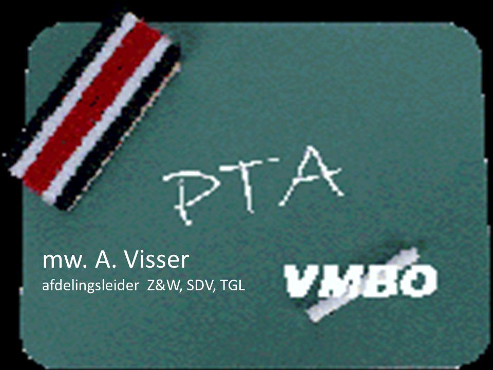 mw. A. Visser afdelingsleider Z&W, SDV, TGL