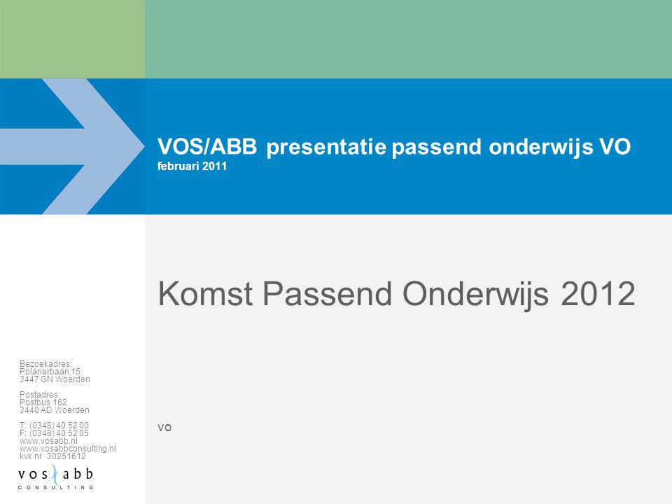 VOS/ABB presentatie passend onderwijs VO februari 2011