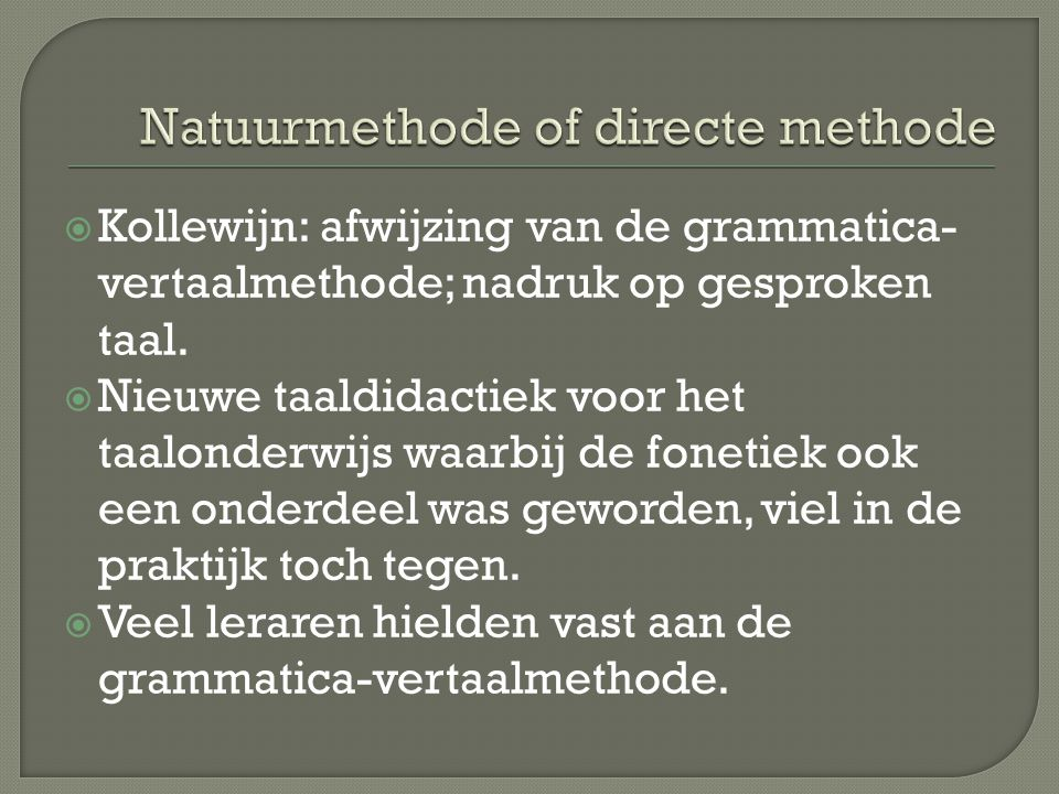 Natuurmethode of directe methode