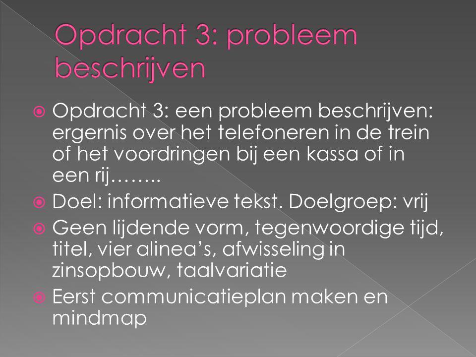 Opdracht 3: probleem beschrijven