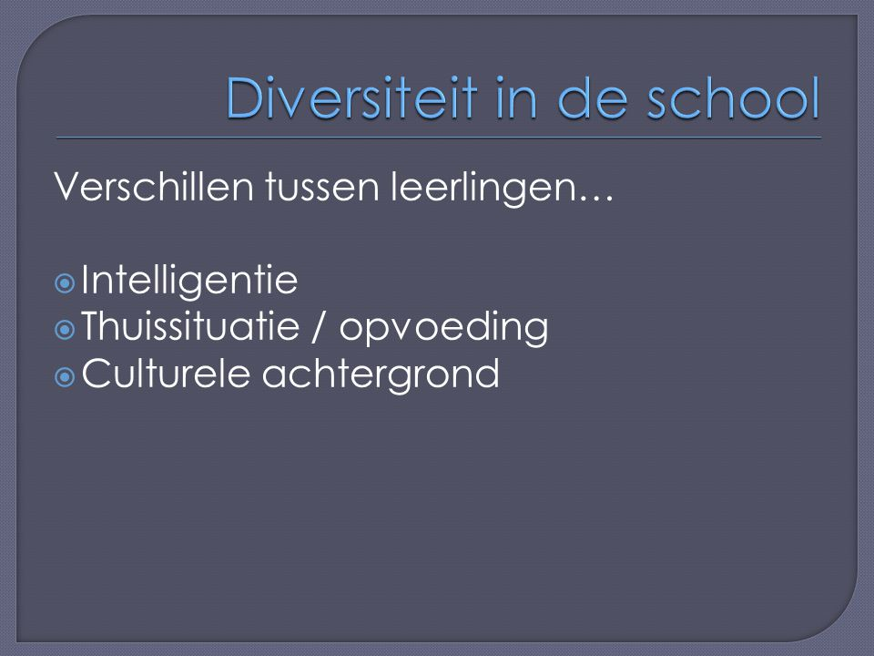 Diversiteit in de school