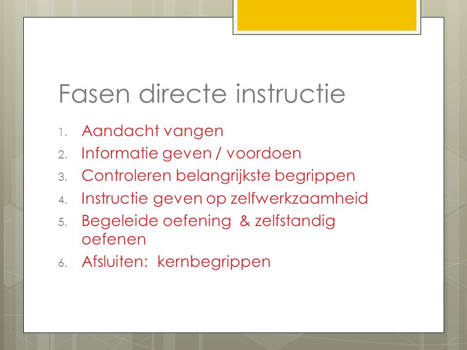 Fasen directe instructie