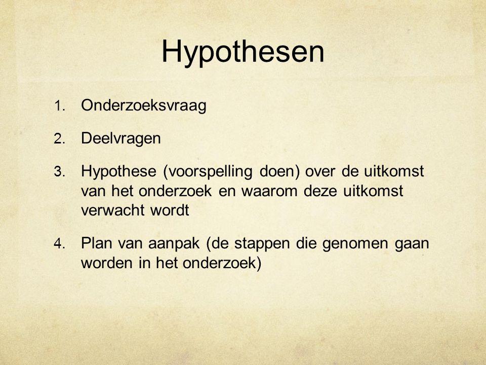 Hypothesen Onderzoeksvraag Deelvragen
