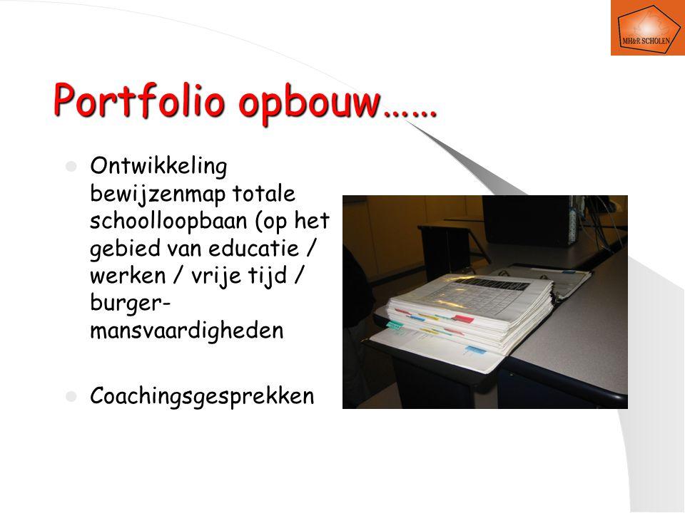 Portfolio opbouw…… Ontwikkeling bewijzenmap totale schoolloopbaan (op het gebied van educatie / werken / vrije tijd / burger-mansvaardigheden.