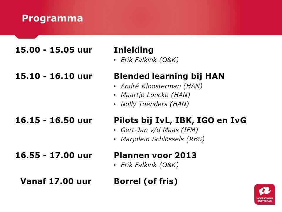 Programma 15.00 - 15.05 uur Inleiding
