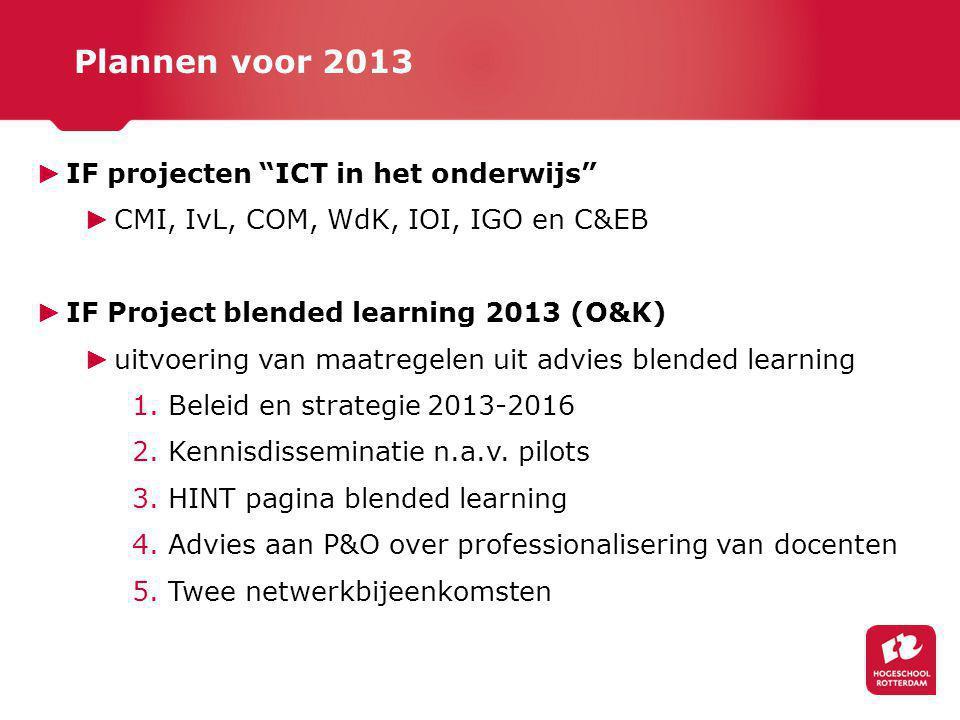 Plannen voor 2013 IF projecten ICT in het onderwijs