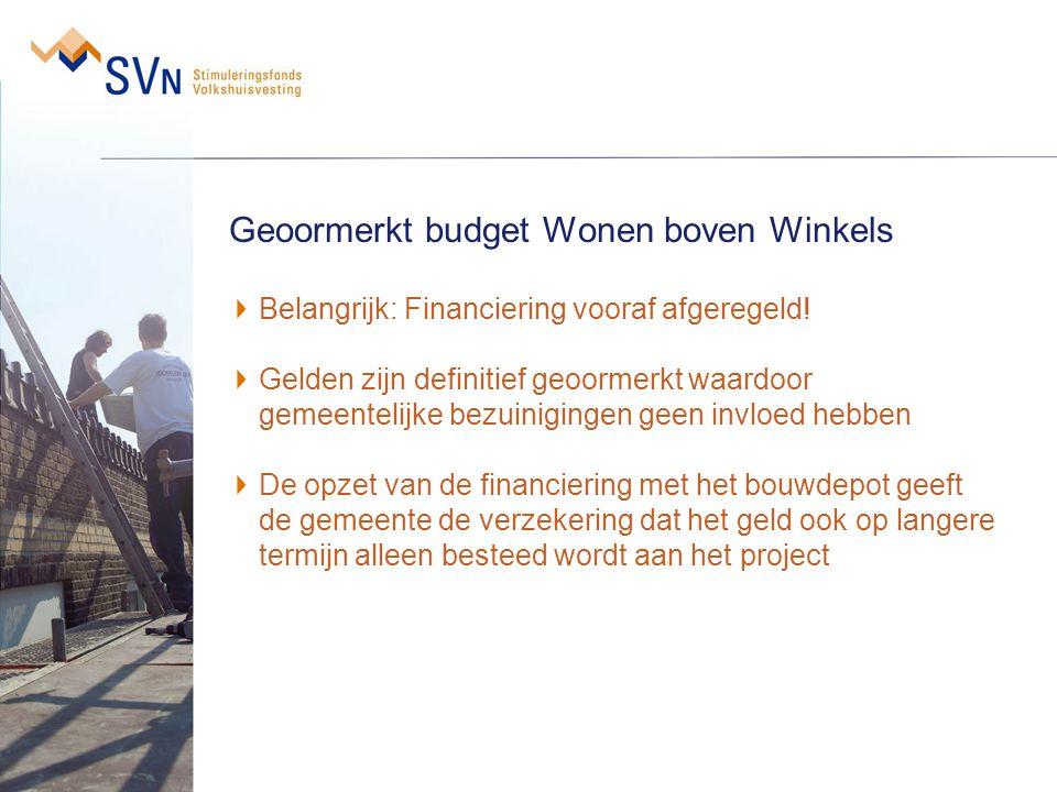 Geoormerkt budget Wonen boven Winkels