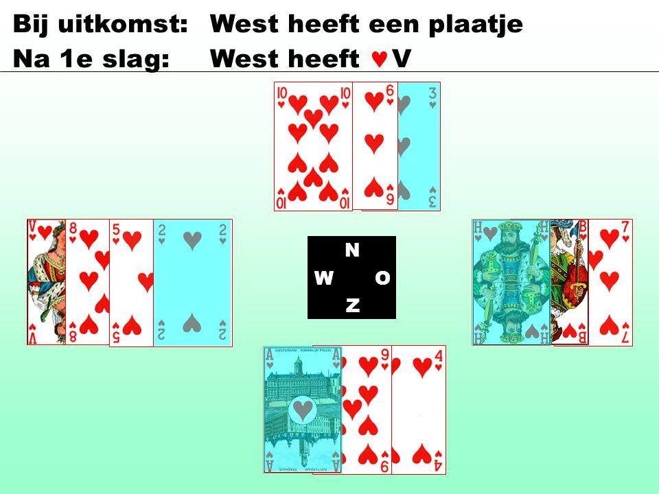 Bij uitkomst: West heeft een plaatje Na 1e slag: West heeft V