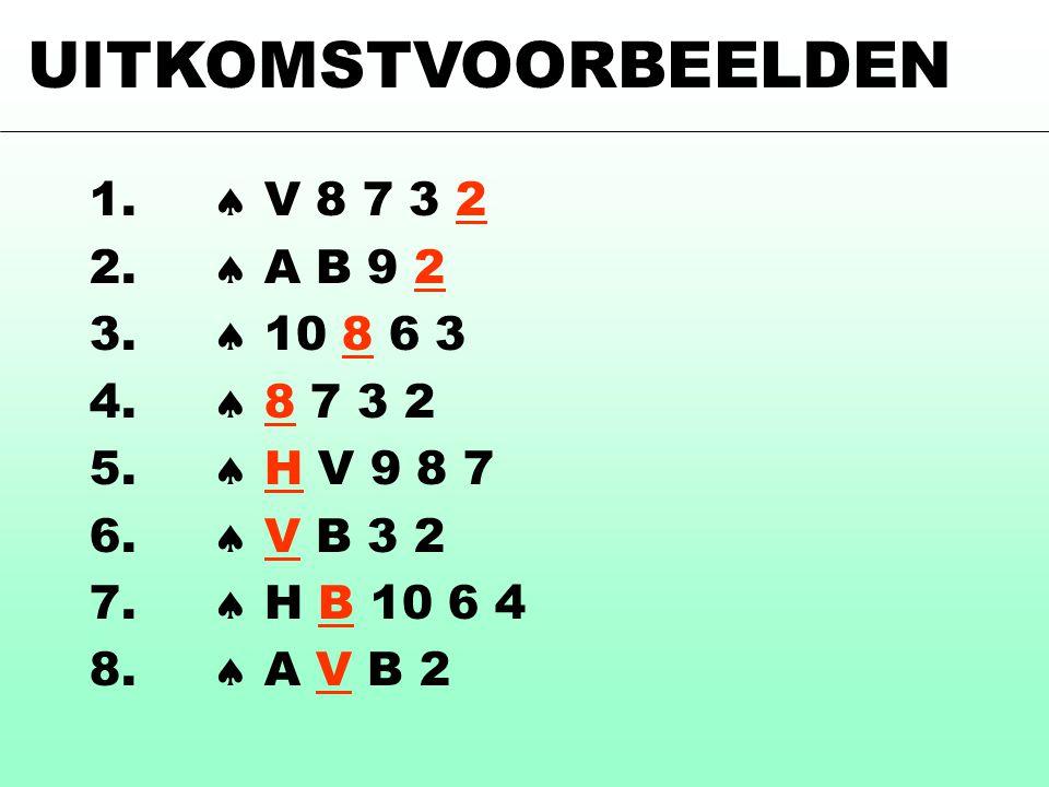 UITKOMSTVOORBEELDEN 1.  V 8 7 3 2 2.  A B 9 2 3.  10 8 6 3