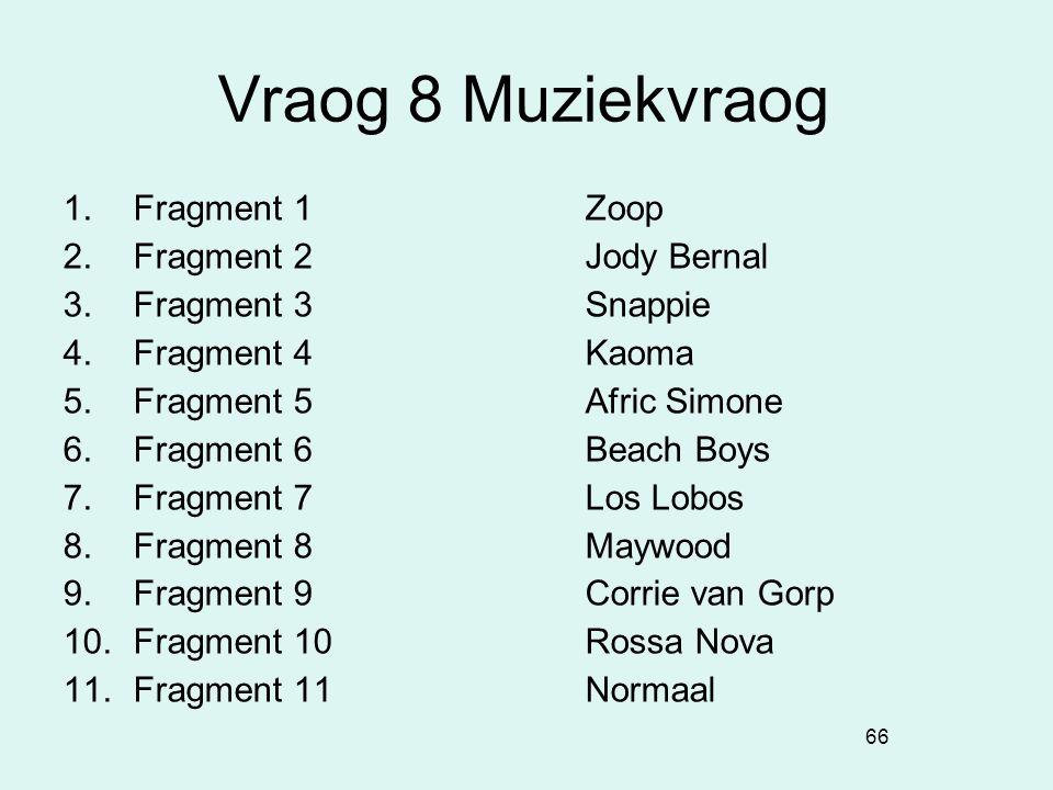 Vraog 8 Muziekvraog Fragment 1 Zoop Fragment 2 Jody Bernal