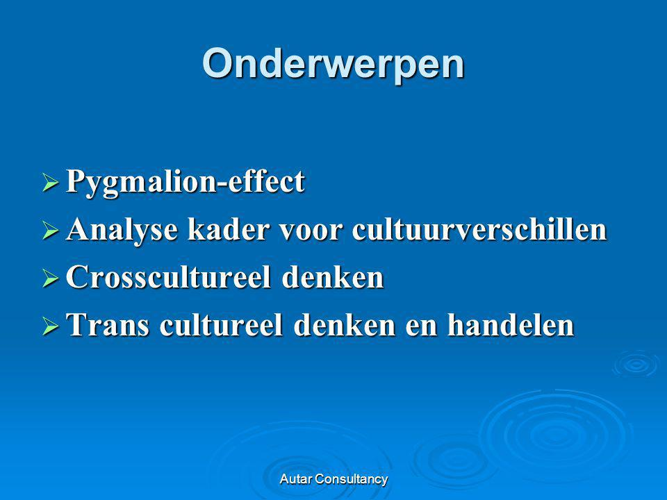 Onderwerpen Pygmalion-effect Analyse kader voor cultuurverschillen