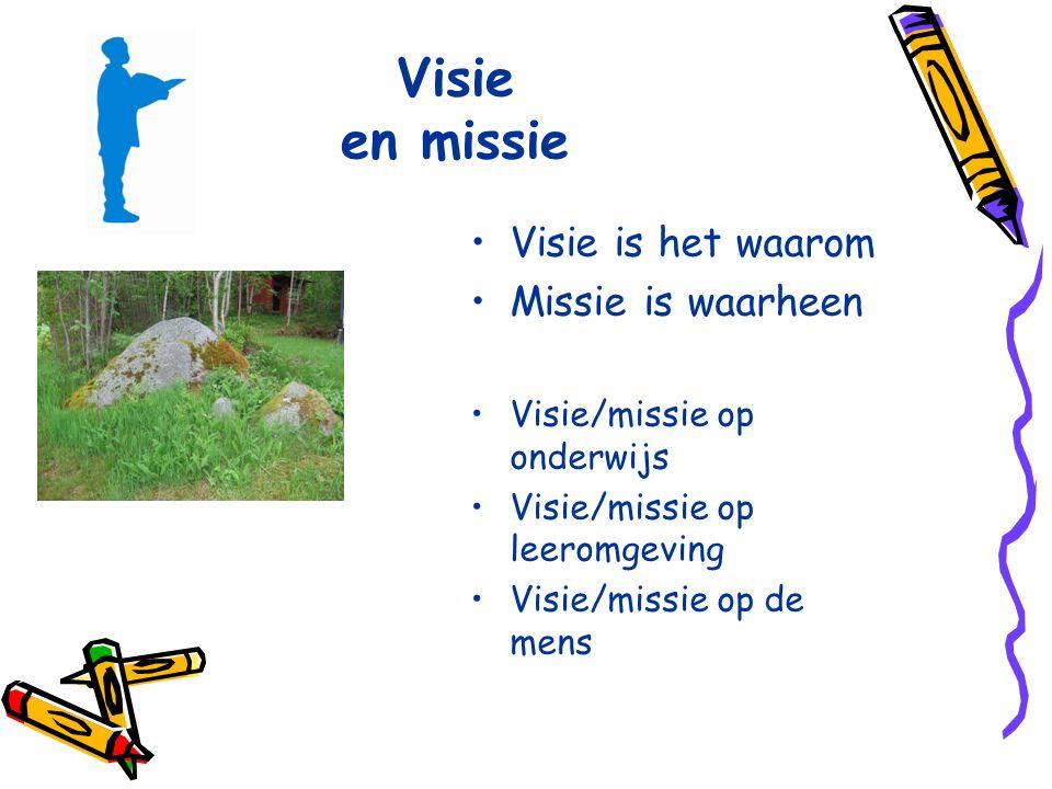 Visie en missie Visie is het waarom Missie is waarheen