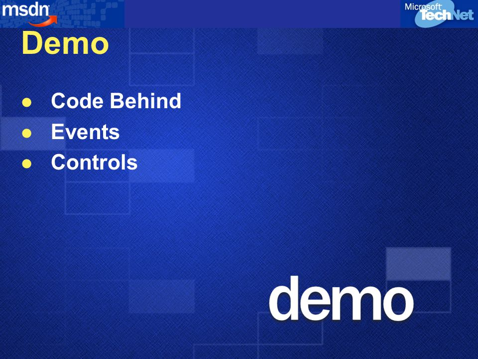 Demo Code Behind Events Controls
