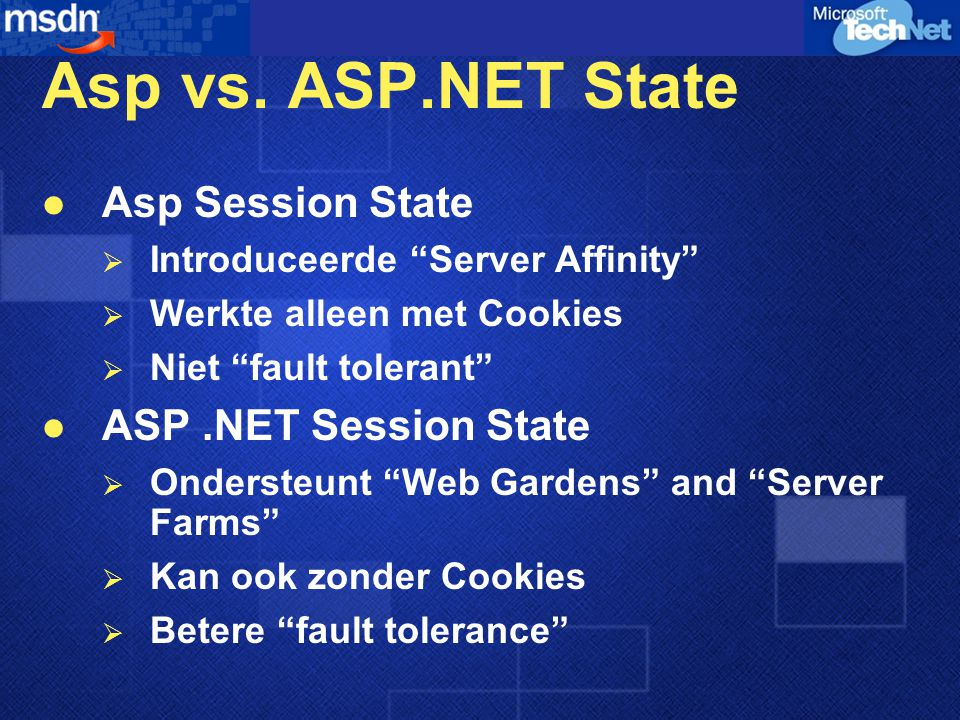 Asp vs. ASP.NET State Asp Session State ASP .NET Session State