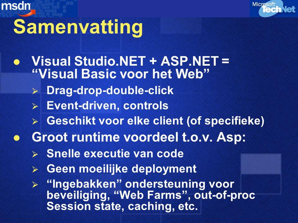 Samenvatting Visual Studio.NET + ASP.NET = Visual Basic voor het Web