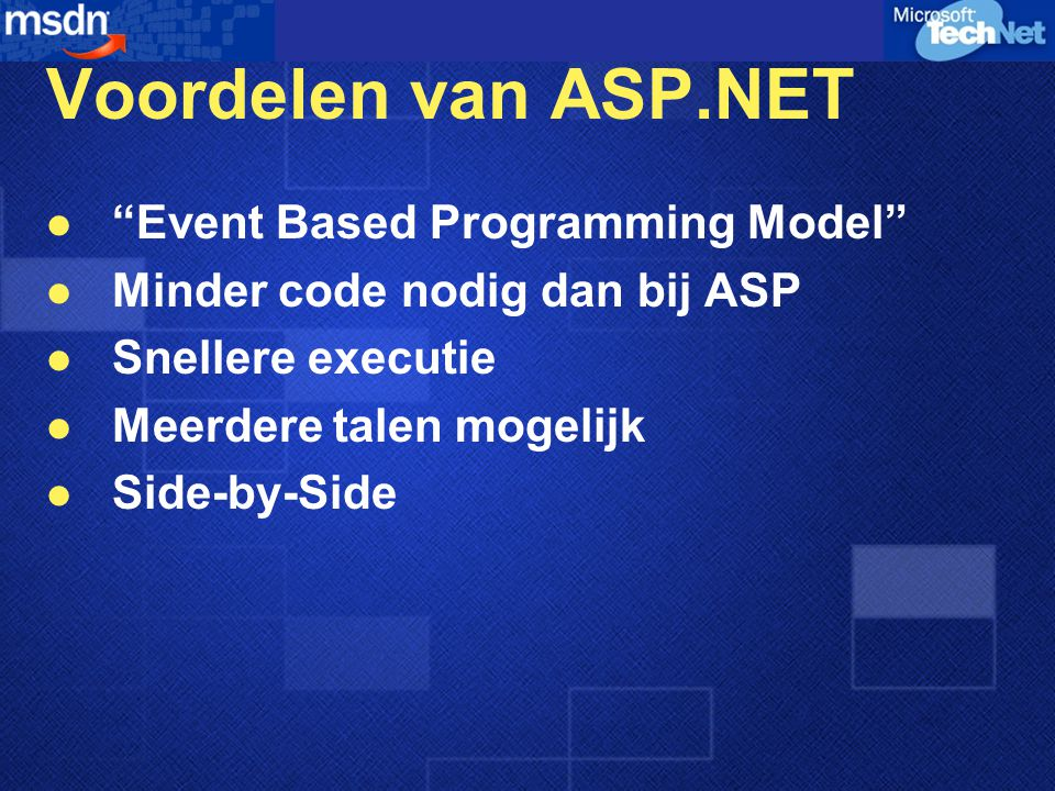 Voordelen van ASP.NET Event Based Programming Model