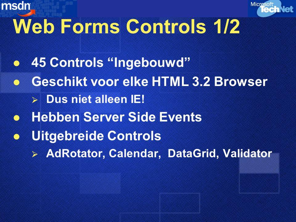 Web Forms Controls 1/2 45 Controls Ingebouwd