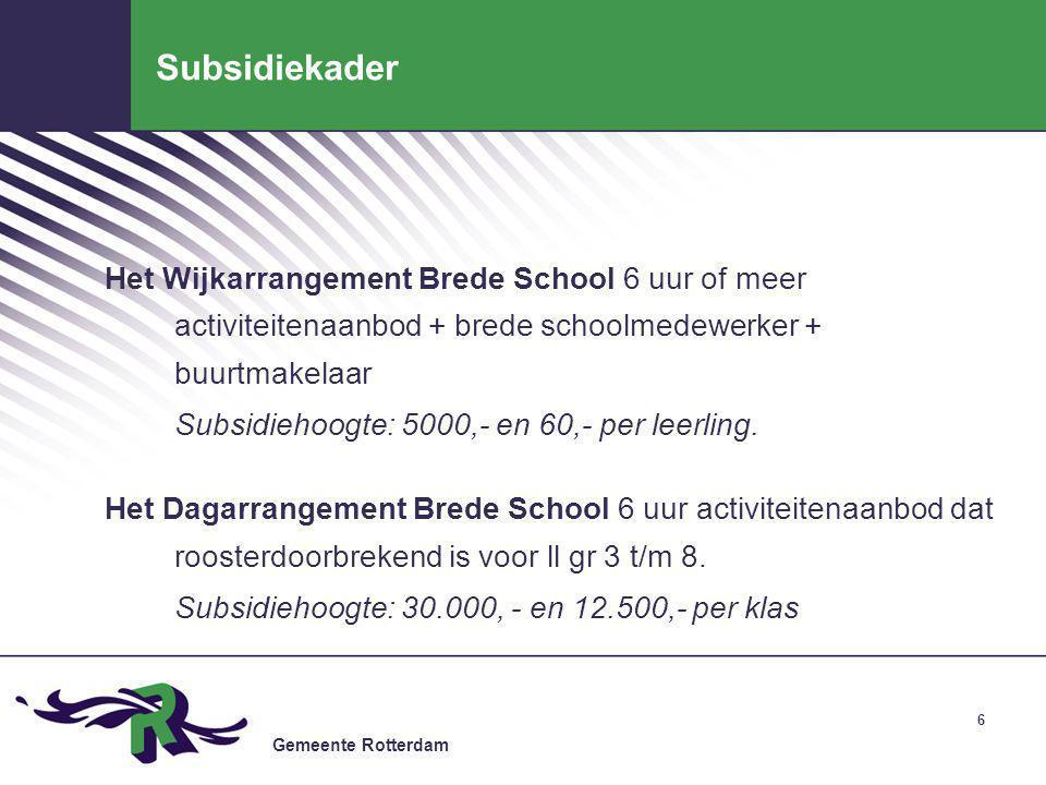 Subsidiekader Het Wijkarrangement Brede School 6 uur of meer activiteitenaanbod + brede schoolmedewerker + buurtmakelaar.
