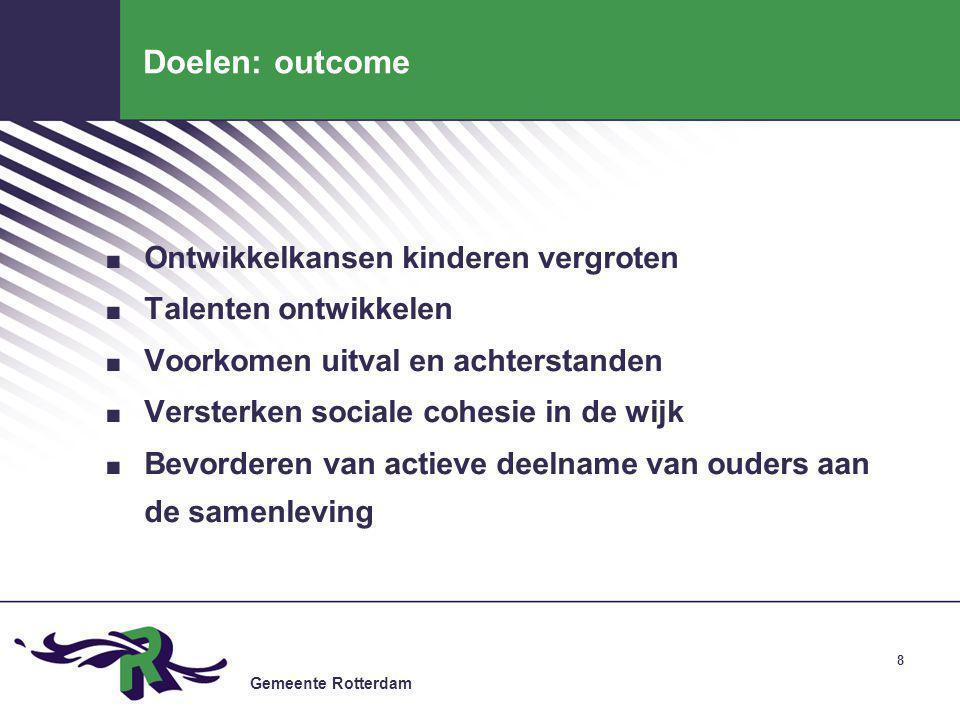 Doelen: outcome Ontwikkelkansen kinderen vergroten