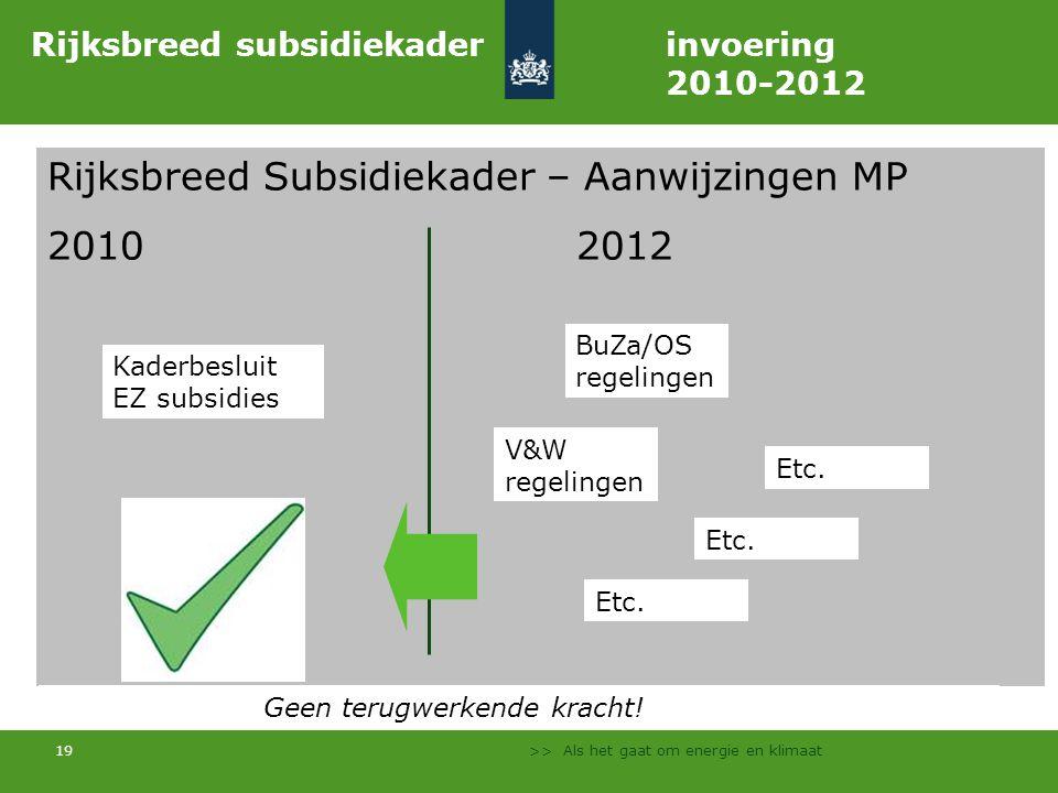 Rijksbreed subsidiekader invoering 2010-2012