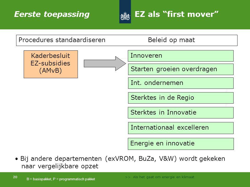 Eerste toepassing EZ als first mover