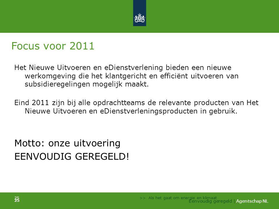 Focus voor 2011 Motto: onze uitvoering EENVOUDIG GEREGELD!