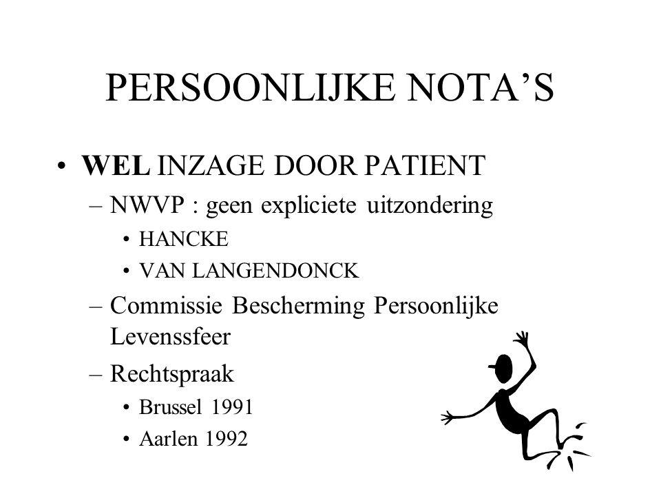 PERSOONLIJKE NOTA'S WEL INZAGE DOOR PATIENT