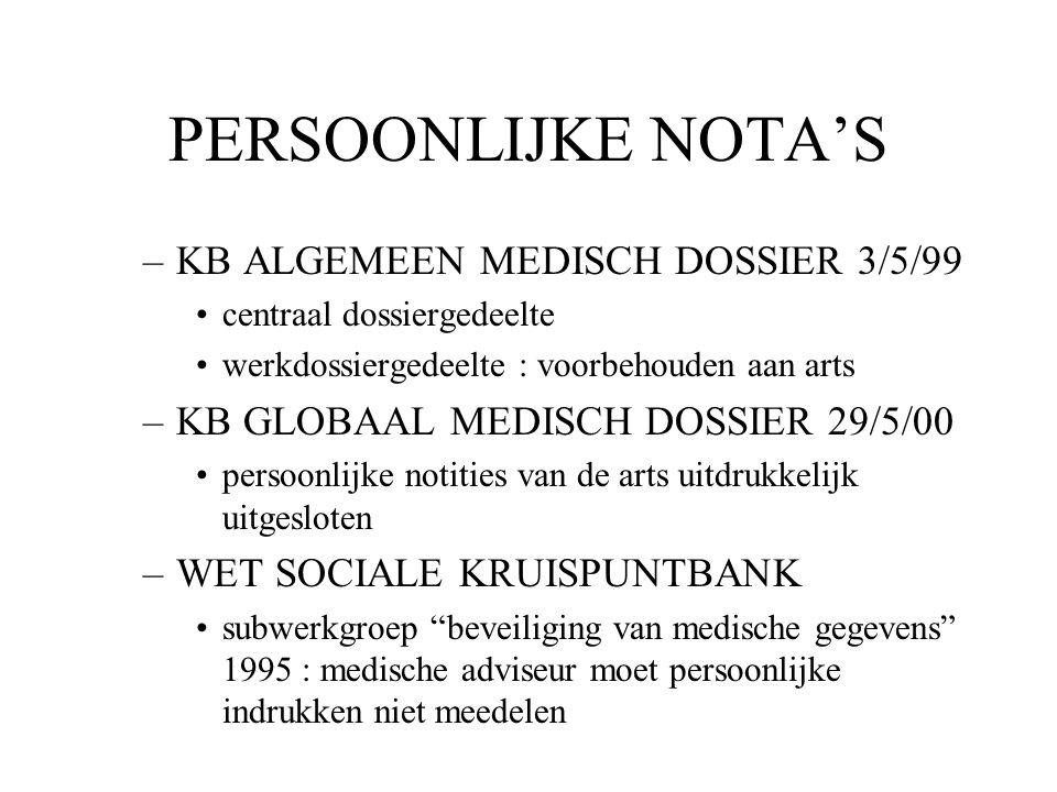 PERSOONLIJKE NOTA'S KB ALGEMEEN MEDISCH DOSSIER 3/5/99