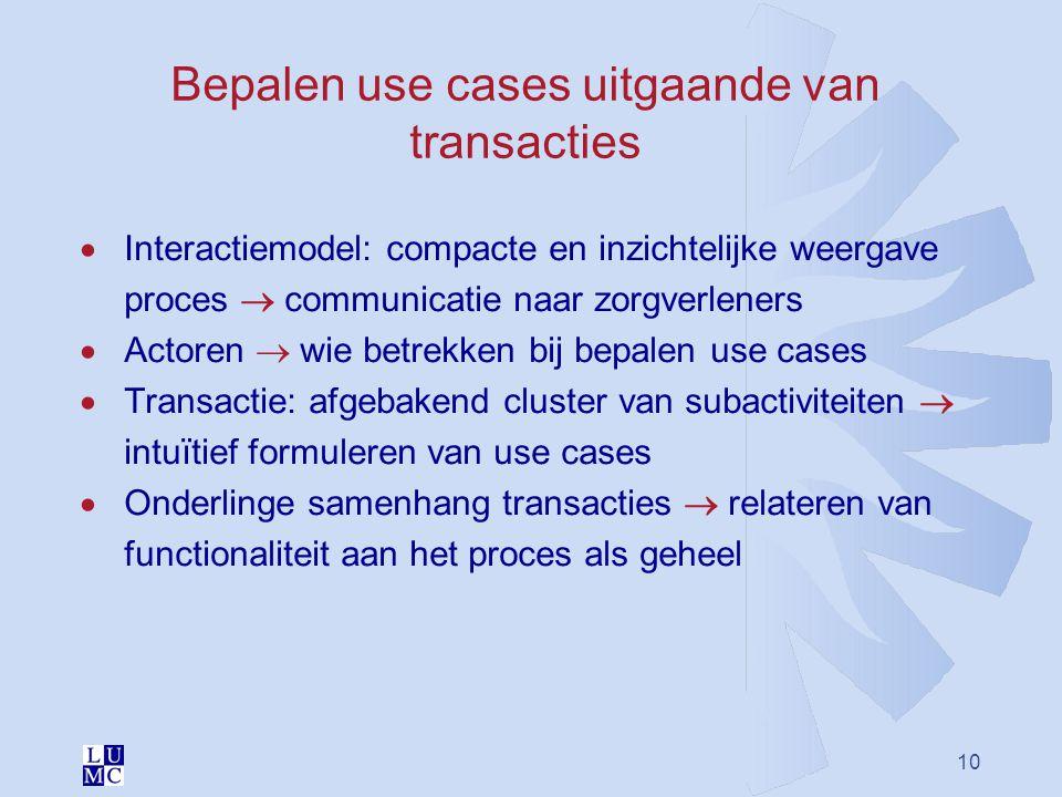 Bepalen use cases uitgaande van transacties