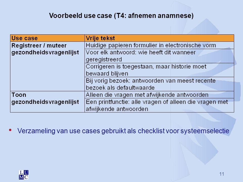 Voorbeeld use case (T4: afnemen anamnese)