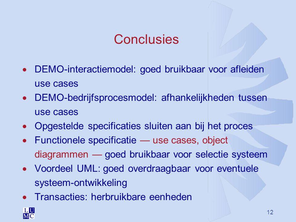 Conclusies DEMO-interactiemodel: goed bruikbaar voor afleiden use cases. DEMO-bedrijfsprocesmodel: afhankelijkheden tussen use cases.