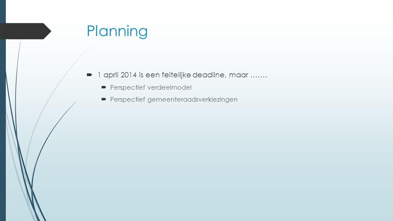 Planning 1 april 2014 is een feitelijke deadline, maar …….