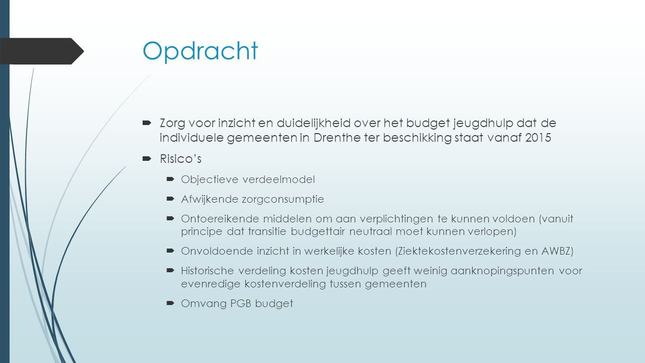 Opdracht Zorg voor inzicht en duidelijkheid over het budget jeugdhulp dat de individuele gemeenten in Drenthe ter beschikking staat vanaf 2015.