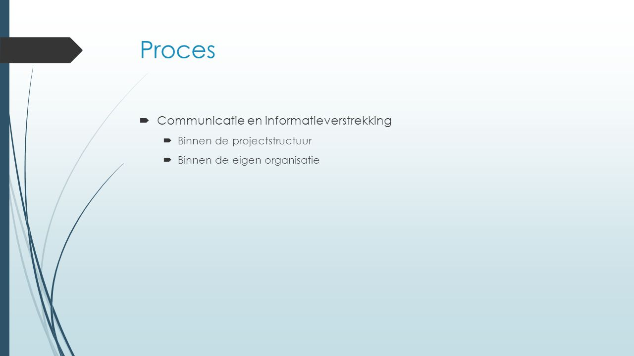 Proces Communicatie en informatieverstrekking