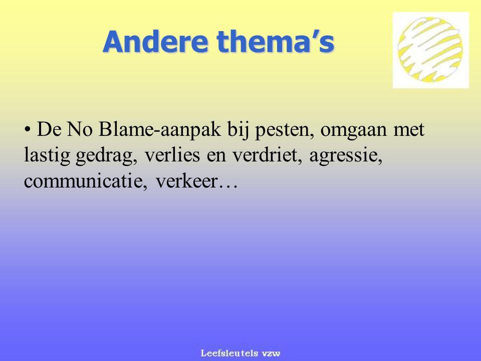 Andere thema's De No Blame-aanpak bij pesten, omgaan met lastig gedrag, verlies en verdriet, agressie, communicatie, verkeer…