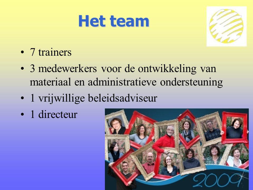 Het team 7 trainers. 3 medewerkers voor de ontwikkeling van materiaal en administratieve ondersteuning.
