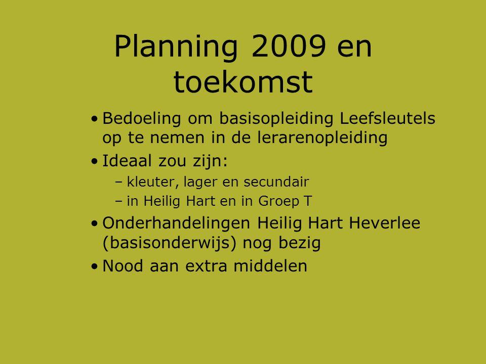 Planning 2009 en toekomst Bedoeling om basisopleiding Leefsleutels op te nemen in de lerarenopleiding.