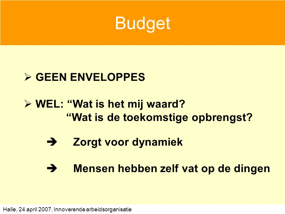 Budget GEEN ENVELOPPES