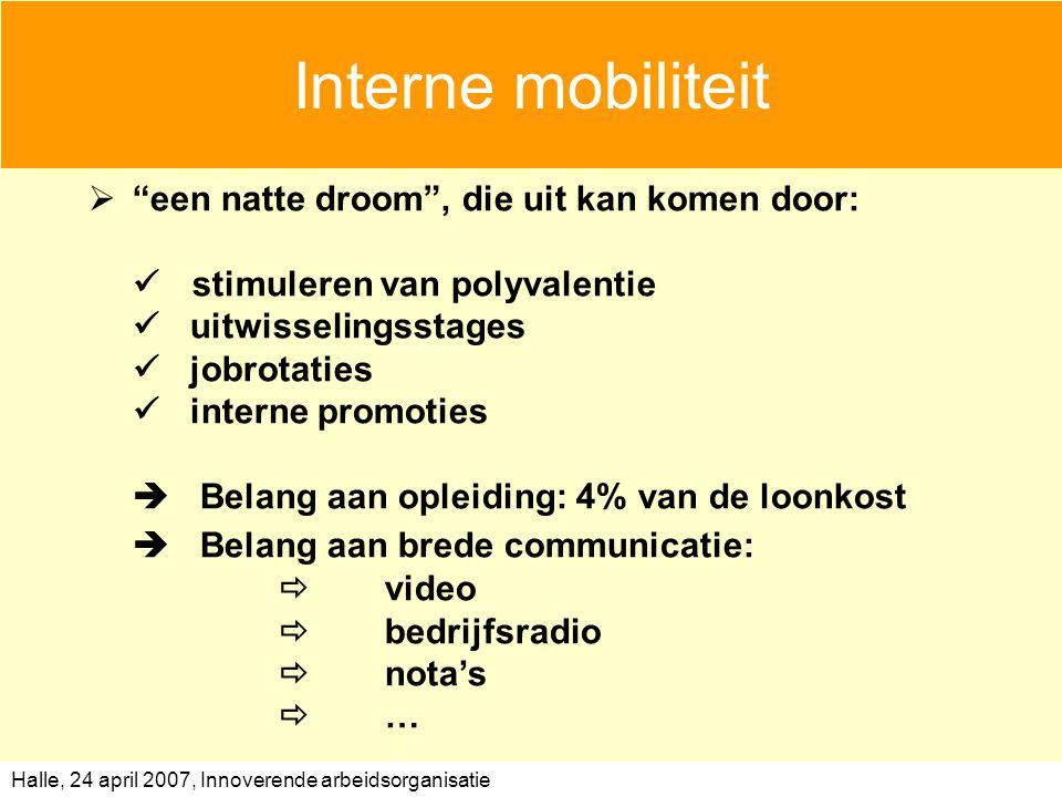 Interne mobiliteit  Belang aan brede communicatie: