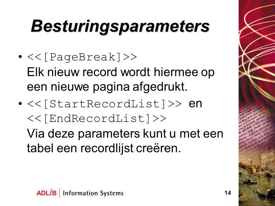 Besturingsparameters