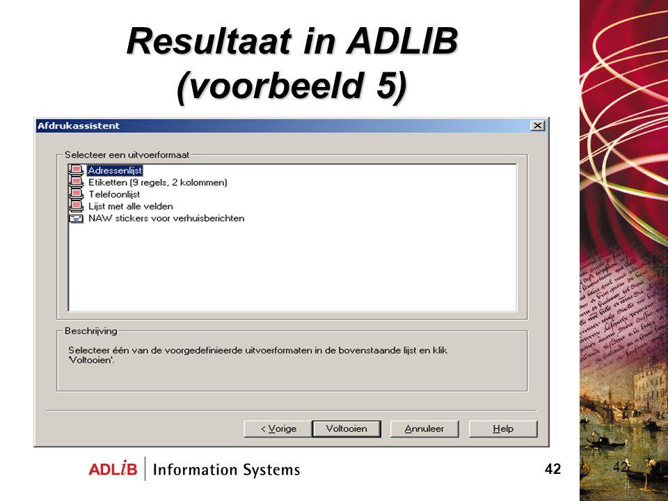 Resultaat in ADLIB (voorbeeld 5)