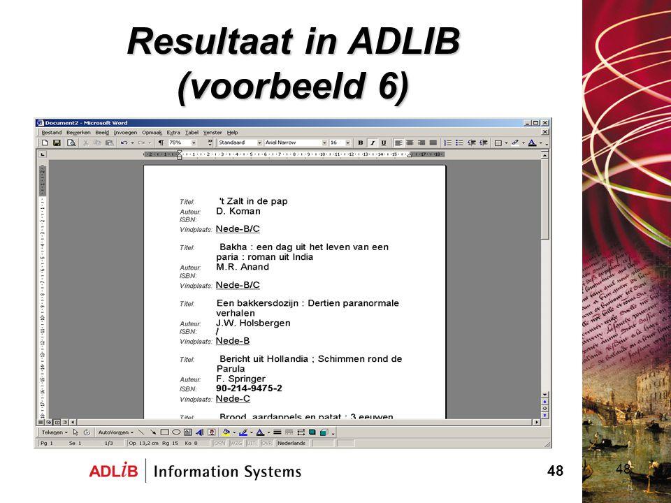 Resultaat in ADLIB (voorbeeld 6)