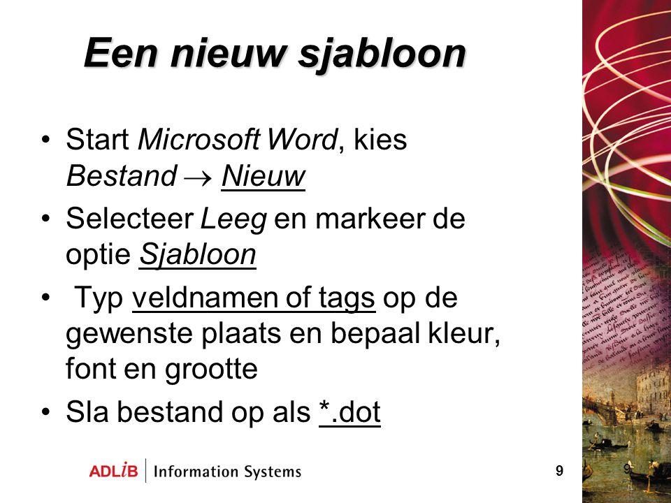 Een nieuw sjabloon Start Microsoft Word, kies Bestand  Nieuw