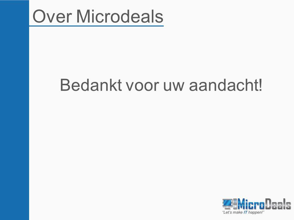 Over Microdeals Bedankt voor uw aandacht!