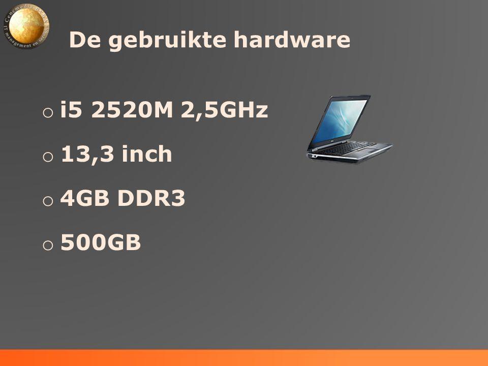 De gebruikte hardware i5 2520M 2,5GHz 13,3 inch 4GB DDR3 500GB