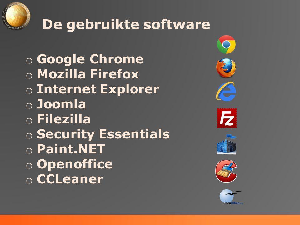 De gebruikte software Google Chrome Mozilla Firefox Internet Explorer