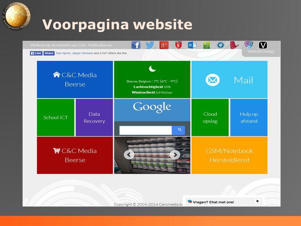 Voorpagina website