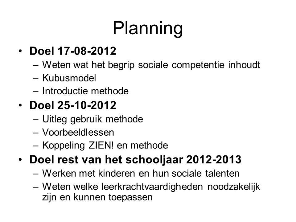 Planning Doel 17-08-2012 Doel 25-10-2012